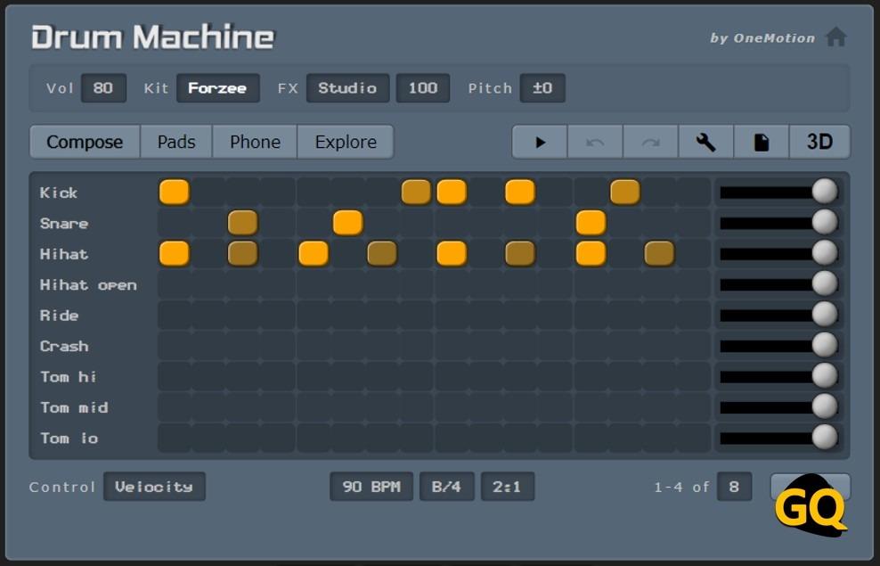 원 모션에 의해 드럼 머신의 가상 드러머