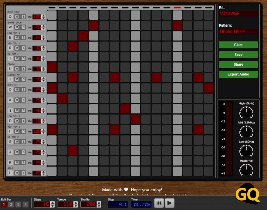 패턴 스케치, 간단한 대체 드럼 머신.
