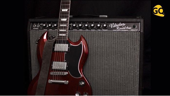 Gibson SG Les Paul 1960 con amplificador Fender Vibrolux Reverb Amp