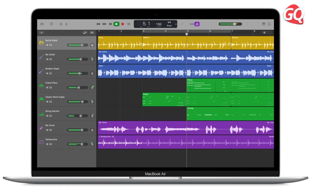 Apple GarageBand, the ideal DAW for Mac beginners.