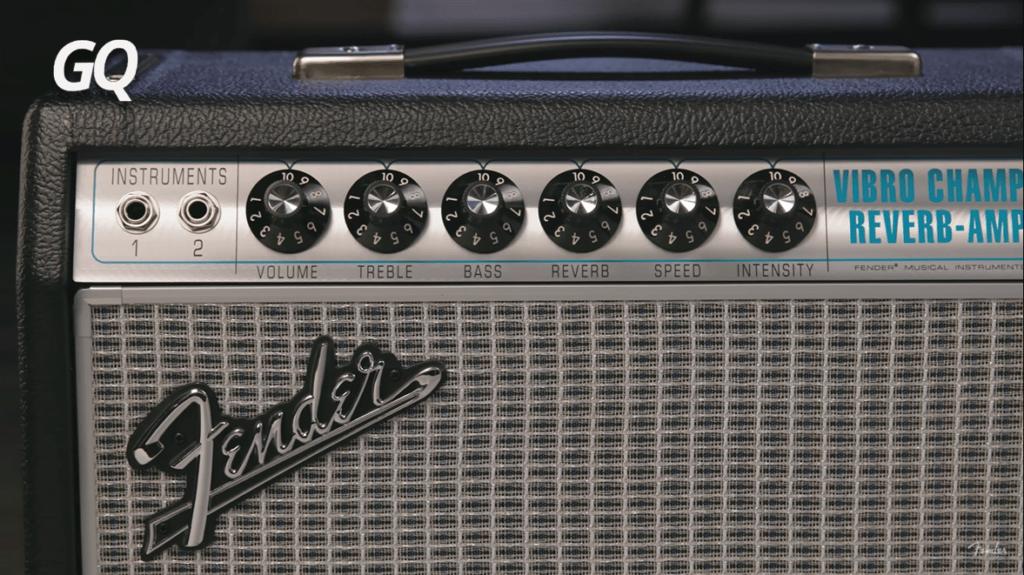 Fender '68 Custom Vibro Champ Reverb: controles.