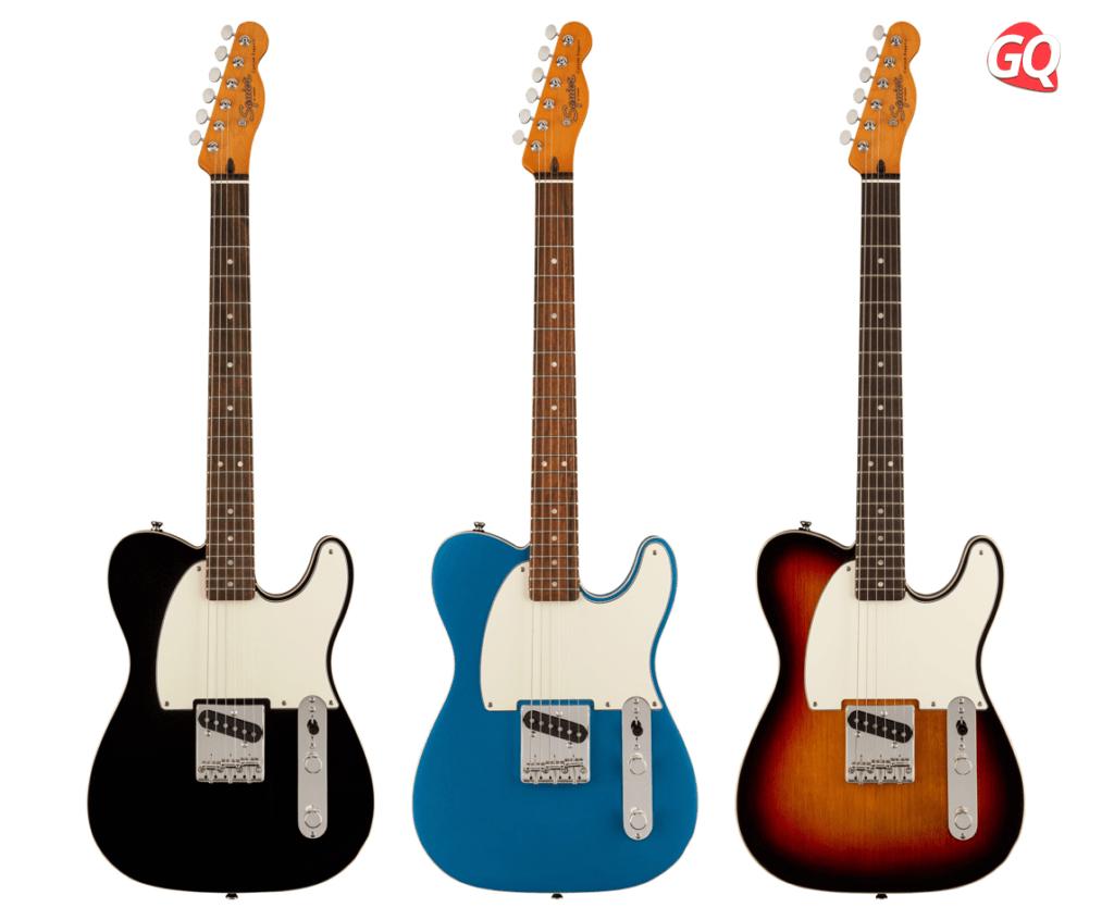 La nueva Esquire Custom FSR Classic Vibe 60s viene en tres acabados: Sunburst, Lake Placid Blue y Negro.
