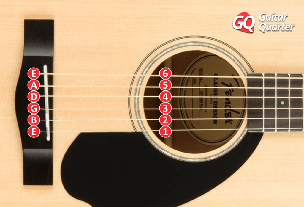 Noms de cordes de guitare acoustique.
