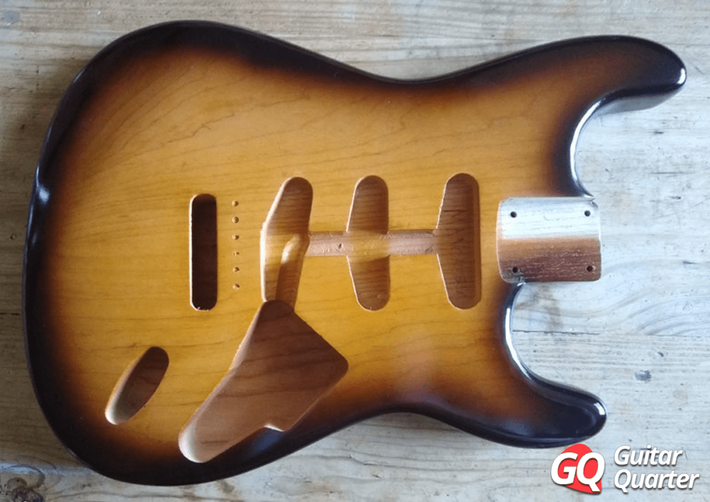 Stratocaster body finished in nitrocellulose.