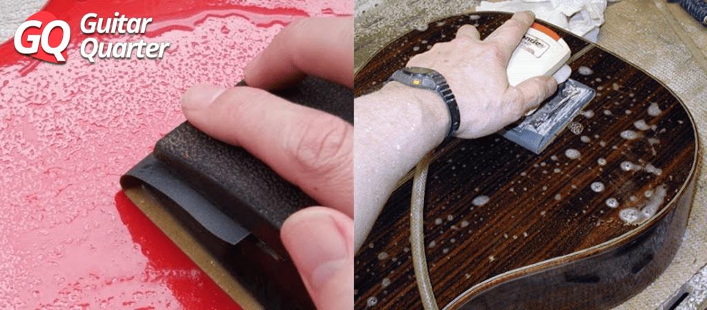 Guitar finish wet sanding.