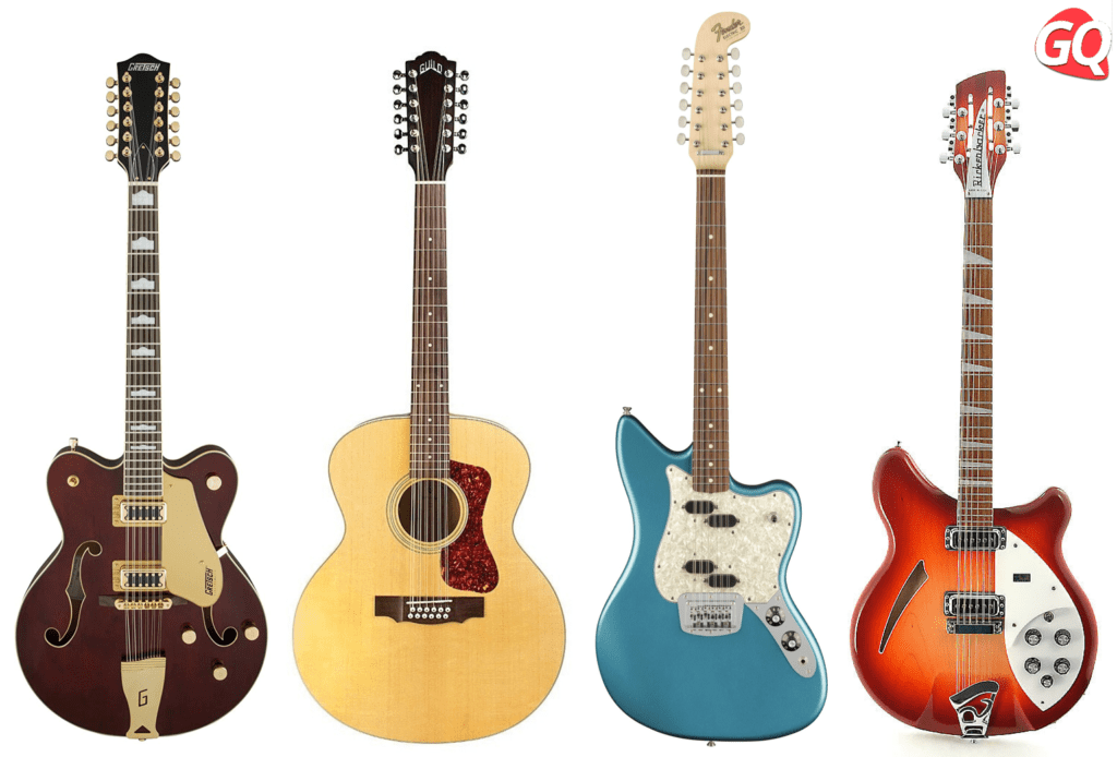 12-point guitars can come in acoustic or electric types in hollowbody or solid bodies.