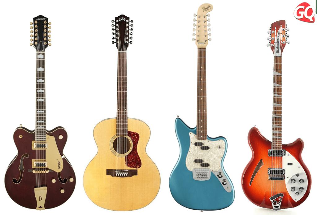 Las guitarras de 12 puntas pueden venir en tipos acústicos o eléctricos en hollowbody o cuerpos sólidos.