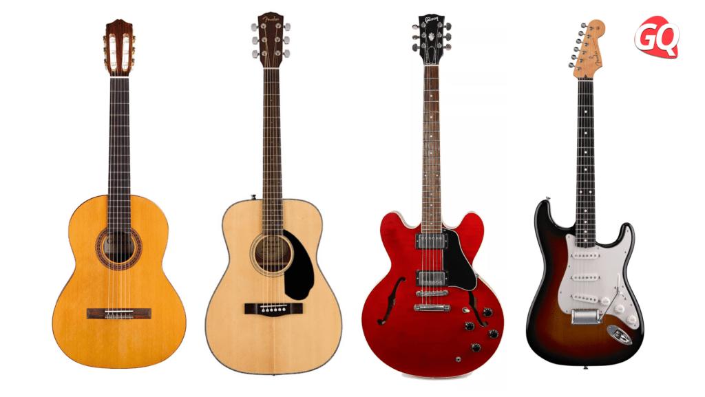 Tipos de Guitarras: Guitarra clásica, acústica y eléctrica.