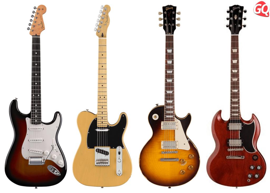 Las guitarras eléctricas de cuerpo sólido son un tipo de guitarra versátil hechas en madera sólida, la Fender Stratocaster  y Telecaster y la Gibson Les Paul y SG son las guitarras más populares.
