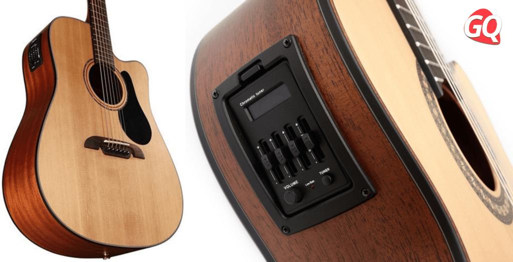 Guitarra electroacústica y sus controles de volumen y ecualización.