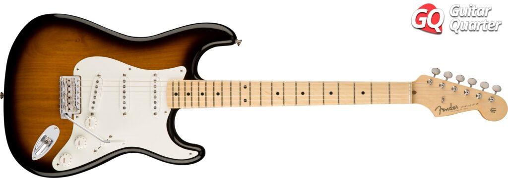 Fender Stratocaster American Original 50's: Cuerpo de aliso y mástil de arce, en acabado Two-Tone Sunburst.