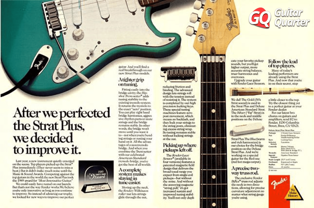 Publicidad de la Fender Stratocaster Plus de 1989.