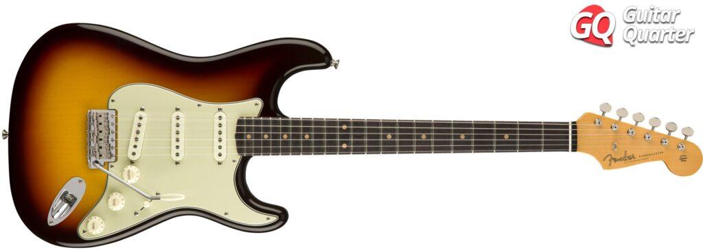 Fender Stratocaster Custom Shop 1963: Cuerpo de aliso y diapasón de palisandro, en acabado Three-Tone Sunburst.